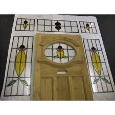 1930 House Design Ideas by 1930 Edwardian Stained Glass Exterior Door With Surrounding