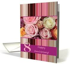 8th wedding anniversary card pastel roses and stripes card