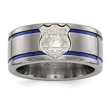 titanium men titanium blue anodized inlay silver shield 10mm ring for men
