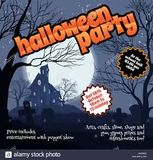 a halloween party flyer leaflet with a spooky haunted house and
