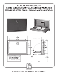 Koala Kare Changing Table by Kb110 Ssre Koala Kare Products Pdf Catalogues Documentation