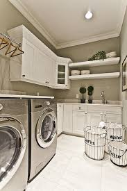 Laundry Room Decor And Accessories White Cabinets Feat Chrome Modern Washing Machine Panel Also Wall