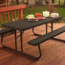 lifetime 6 folding outdoor picnic table brown 60110 lifetime 60105 wood grain picnic table and benches 6 ft vip outlet
