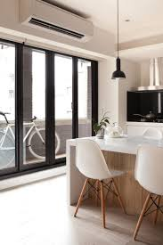 24 best concept apartment interiors images on pinterest apartment ergonomic seating in the kitchen with white countertop and chairs jazzy apartment interior for children friendly space
