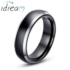 Black Wedding Rings For Her by Two Tone Tungsten Wedding Bands Domed Black Gold Tungsten