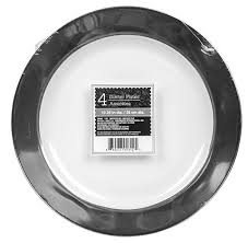 bulk silver rimmed white plastic dinner plates 10 25 in 4 ct