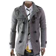 doublju mens double pea wool half trench coat my style