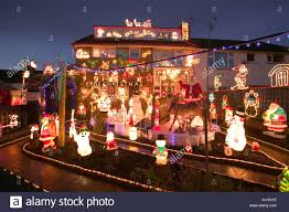 House Christmas Lights by Over The Top Christmas Lights And Decorations On A House In Stock