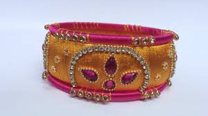 yellow and pink combination silk thread bangle set youtube