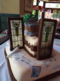 prairie style architect frank lloyd wright themed cake windows are