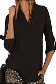 dokotoo womens casual chiffon ladies v neck cuffed sleeve blouse