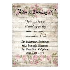 flowers wood rustic birthday party invitation birthday