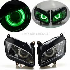 honda 600rr 2007 projector headlight green angel eyes hid assembly fits for honda