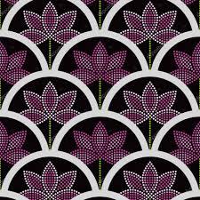 vector seamless japanese style half circle pattern lotus flower