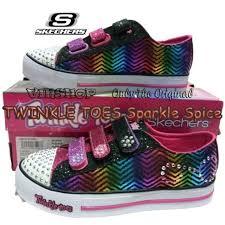 Sepatu Sketcher Anak Perempuan sepatu skechers twinkle toes sparkle spice black pink bayi