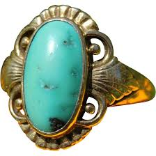 vintage art deco turquoise and 14k gold ring by just andersen