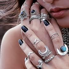 knuckle rings silver images Jewels boho bohemian moon crescent moon hippie boho rings jpg