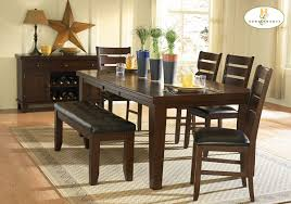 dining room set with bench casual dining room with 6 oak finish wood dining table