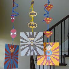 Batman Table Decorations Diy Printable Super Hero Hanging Decorations With Spiderman