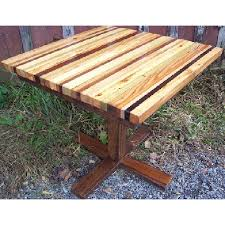 wood butcher block table butcher block reclaimed wood dining table w wood pedestal base