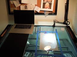 Drafting Table With Light Box Drafting Away The Day James Clapper Caricature Finished