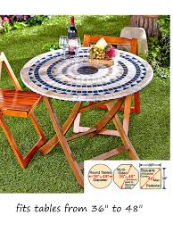 Patio Table Cover Mosaic Tile Elastic Fitted Vinyl Outdoor 48 Patio Table