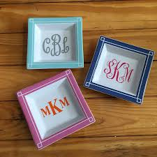 monogramed tray colored edge tray home