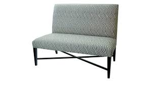 patterned upholstered fabric dining bench with back and metal base