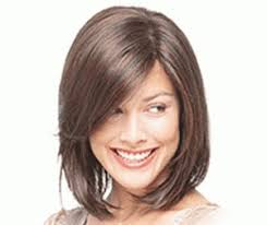 haircuts for women 55 and older above the shoulder with flat hair except with a middle part and the shortest layer being chin length