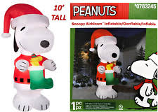 peanuts airblown inflatables gemmy 10ft snoopy christmas light up woodstock peanuts airblown