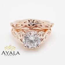 unique designer engagement rings 14k gold unique engagement rings 2 carat moissanite ring set
