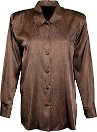brown blouse s satin sleeve print shirt blouse sizes 12 14 16