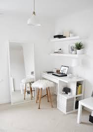 minimal bedroom interior styling white ikea furniture floating