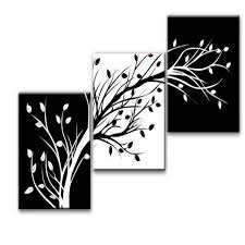 black and white painting ideas 3 piece wall art modern abstract black and white tree canvas
