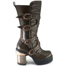 brown motorcycle shoes steampunk style womens boot mid calf gothic boot with 3 1 2 inch
