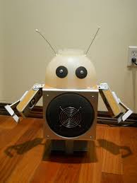 make a robot lamp using discarded speakers and a colander 8