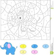 color by number educational game for kids cartoon elephant vec