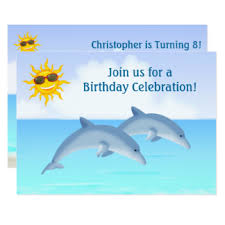 cute dolphin invitations u0026 announcements zazzle