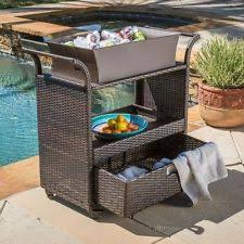 patio wicker serving cart indoor outdoor kitchen bar dinner drink