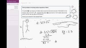 Radical Equations Worksheet 03 11 Word Problem Involving Radical Equations Basic Youtube