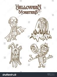 Cartoon Halloween Monsters Halloween Monsters Spooky Cartoon Creatures Set Stock Illustration