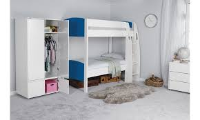 Bunk Bed Wardrobe Room Cozy Room Boys With White Modern Rectangle
