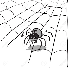 a simple monochrome image a stylized spider and web royalty free