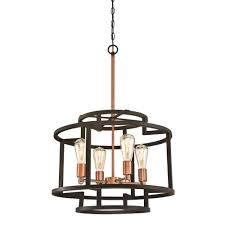Copper Chandeliers Westinghouse Weston 4 Light Rubbed Bronze And Washed Copper