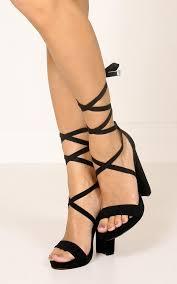 ribbon heels lipstik ribbon in black showpo