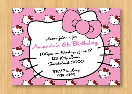 Printable Birthday Invitation Cards For Kids Hello Kitty Printable Birthday Party Invitation By Littleforests