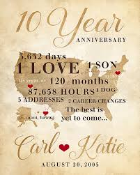 20 year anniversary gifts for 10 year anniversary gift gift for men women his hers 10th