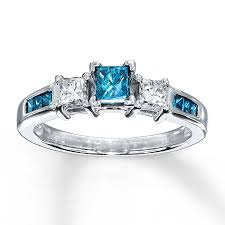 blue diamond wedding rings blue diamond ring 3 4 ct tw princess cut 10k white gold