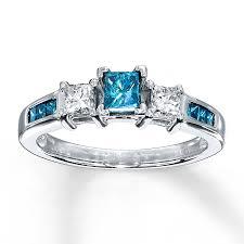 kay jewelers diamond engagement rings kay blue diamond ring 3 4 ct tw princess cut 10k white gold
