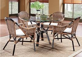 new pacific rattan 5 pc round dining room dining room sets dark wood